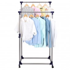 Вешалка стойка для одежды напольная двойная телескопическая GTM Double Pole Clothes Horse