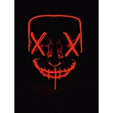 """Светящаяся неоновая LED маска """"Судная ночь"""" для вечеринок, светится неоном в темноте Красная"""