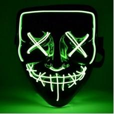 """Светящаяся неоновая LED маска """"Судная ночь"""" для вечеринок, светится неоном в темноте Зелёная"""