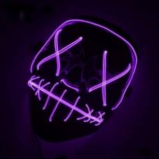 """Светящаяся неоновая LED маска """"Судная ночь"""" для вечеринок, светится неоном в темноте Фиолетовая"""