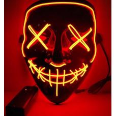 """Светящаяся неоновая LED маска """"Судная ночь"""" для вечеринок, светится неоном в темноте Оранжевая"""