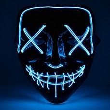 """Светящаяся неоновая LED маска """"Судная ночь"""" для вечеринок, светится неоном в темноте Синяя"""
